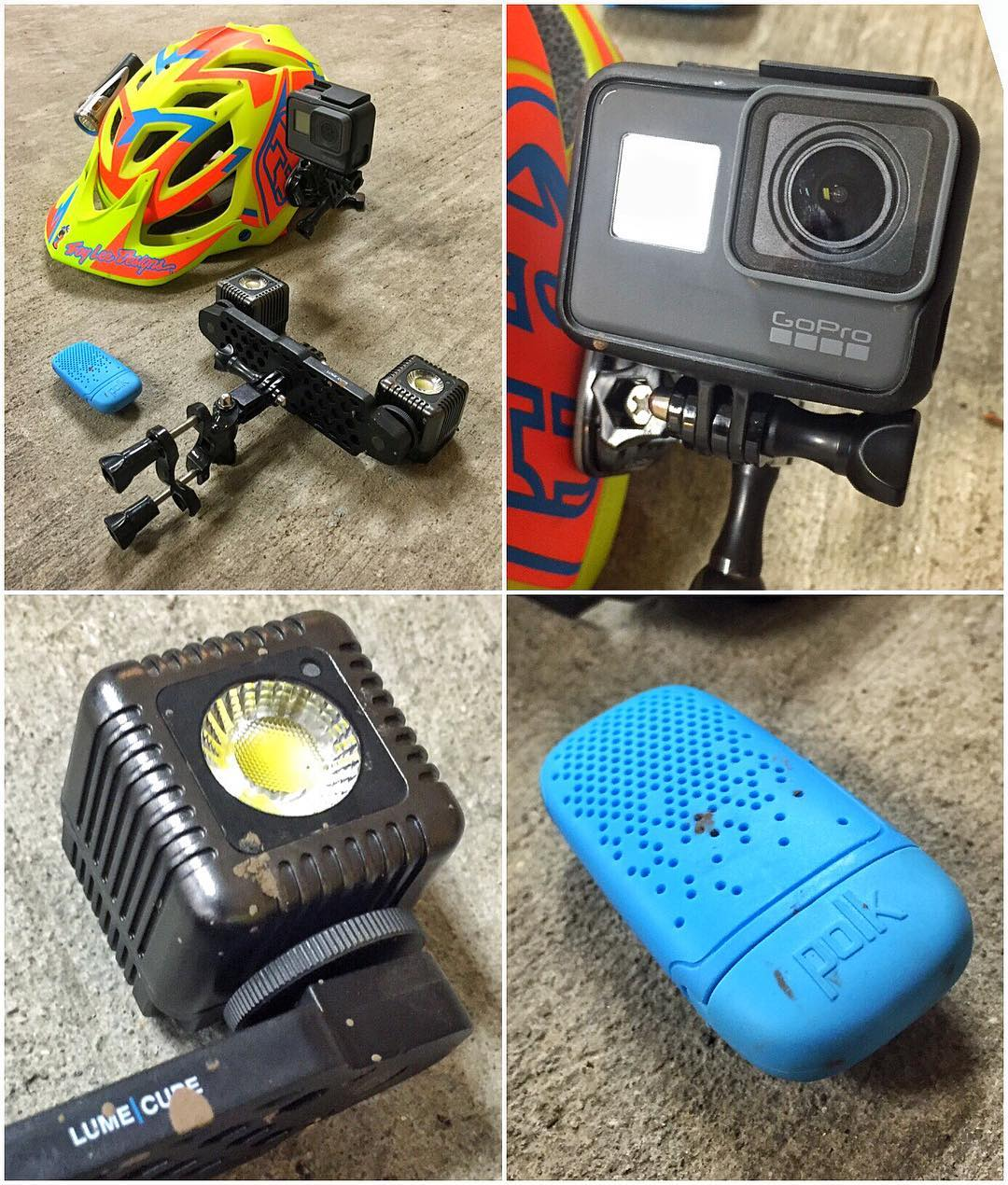 """My personal video/light/sound setup for trail riding on my Specialized mtn. bike in the dark. I really like this stuff. Setup = @GoPro #Hero5 mounted to my @TroyLeeDesigns brain bucket, @LumeCube lights (set up """"rally style"""" on my handlebars!), and a..."""