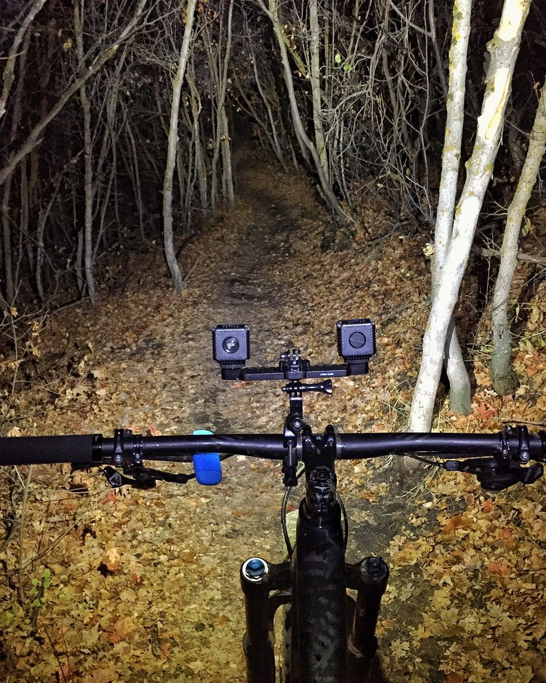 "Working off the jet lag this morning at 5am on the trails here in the mountains of #ParkCity with this sick @LumeCube lighting setup. I love the ""rally style"" inspired look for this lighting. Works great too. #thetrailislit #rallystyle #jetlagsucks"