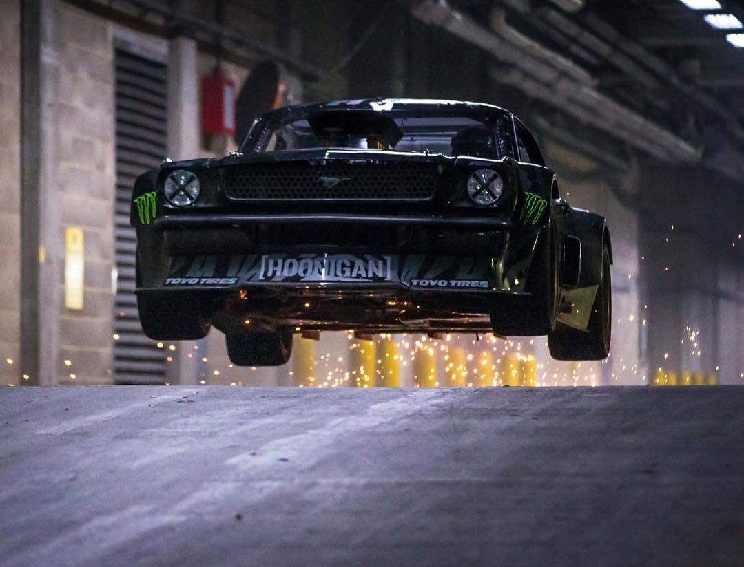 "Flashback to one of my favorite @Roncar photos of all time: jumping the #Hoonicorn for the Top Gear ""Tour of London"" segment earlier this year, with Mr. @MLeblanc in the passenger seat. So epic. And fun. #madsparks #airtimeisthebesttime #FordMustang #RTR"