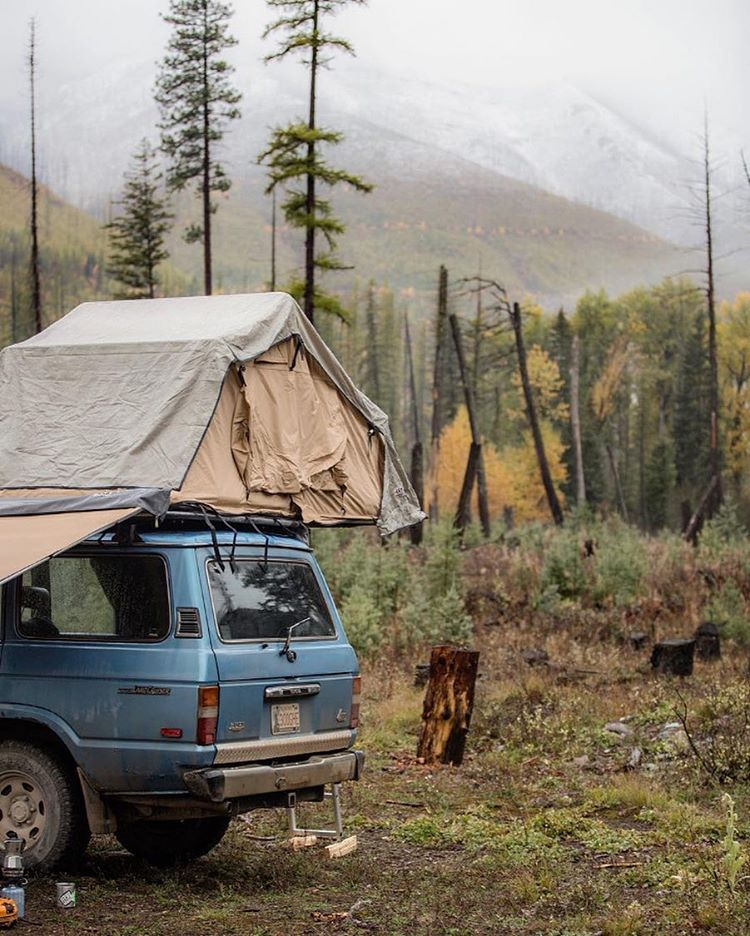 M O N T A N A @quintontolman is a trooper! Camping in Big Sky Country in the rain- That's the #ParkChamp attitude. #Camping #RadParks #FindYourPark #StayWild