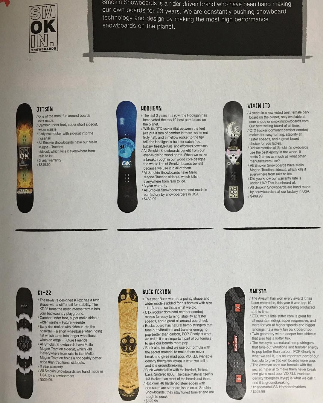 Here's a shot in @snowboardermag , here are some boards we recommend to our friends. #forridersbyriders | #handmadeusa | #mellomagnetraction | #awardwinningperformance | #smokinsnowboards