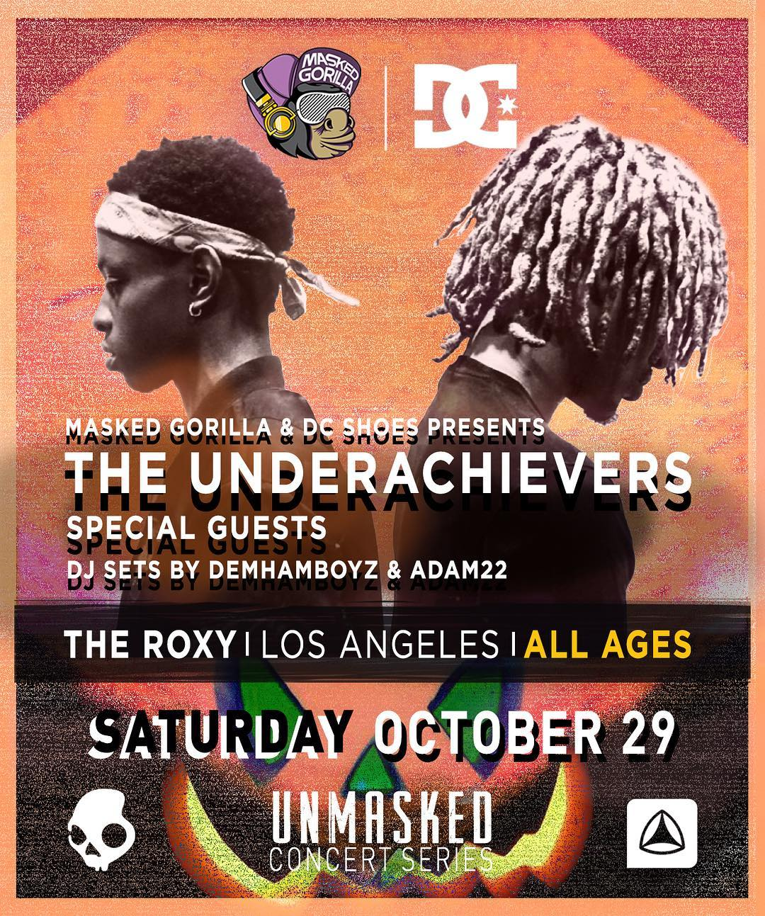 After 4 sold out concerts in 4 months, @MaskedGorilla & DC is ending our @unmaskedla Concert Series on Saturday, October 29th with one our biggest shows ever... @theunderachievers! Get your tickets now at: UNMASKED.la. #dcshoes #maskedgorilla...