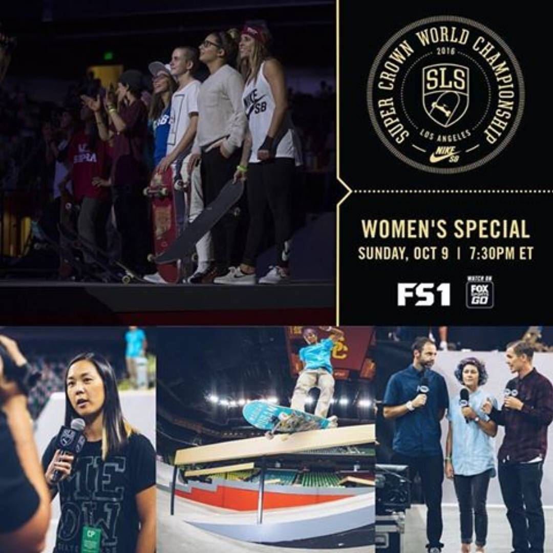 Yeeee!!! There will be a special broadcast today of the Women's SLS Nike SB Super Crown World Championship!! If you missed it last weekend and/or want to watch (again!!), throw a party and catch it on FS1 at 7:30 PM ET / 4:30 PM PT. streetleague.com...