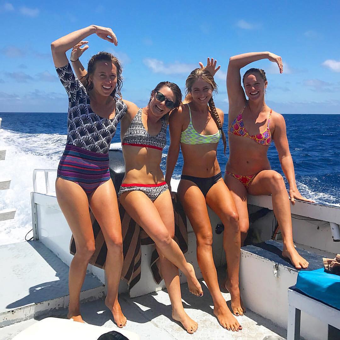BIG WAVE MERMAIDS @shannonreporting OKIINO Ambasssador @biancavalenti @emi_erickson @paigealms spotted in the waves of Fiji.  Stay connected to follow their @supersessions2 adventures! #bigwave #prosurfers #fiji #surf #adventure #okiinolife...