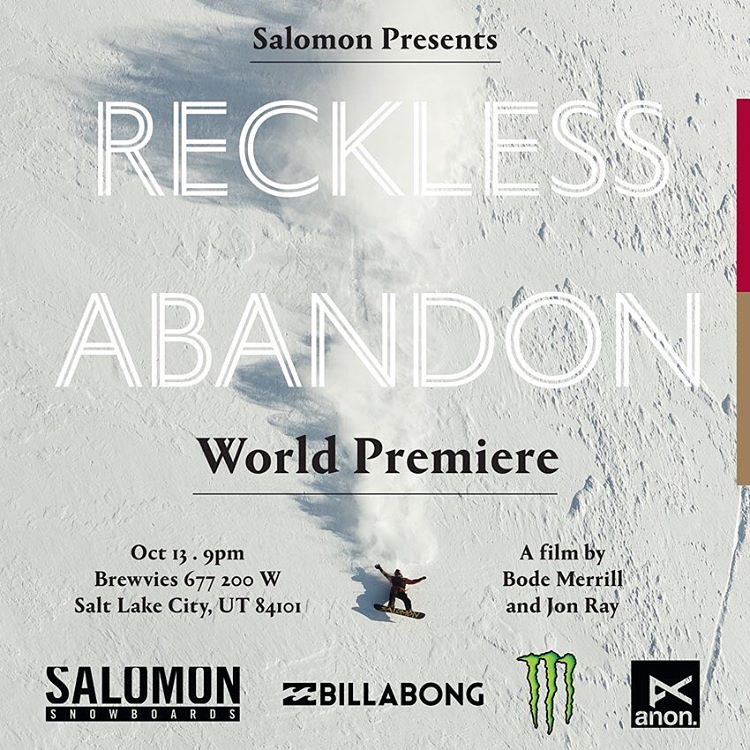 If you live in Salt Lake City, don't miss the premiere of Reckless Abandon @brewvies on October 13th. Flux ripper, Erik Leon (@erikleon_) is featured in this new snowboard film by Bode Merrill (@brodiemitchell) #flux #fluxbindings #promised #snowboard...