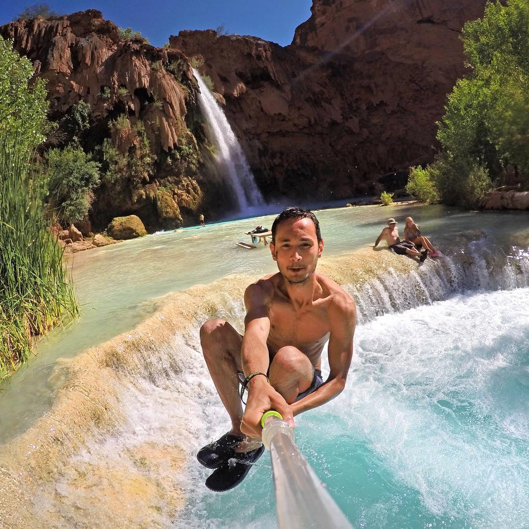 Cannonball! Photo by @martijnwarson at Havasu Falls, Grand Canyon, Arizona. #gopro #gopole #gopoleevo #havasufalls #grandcanyon