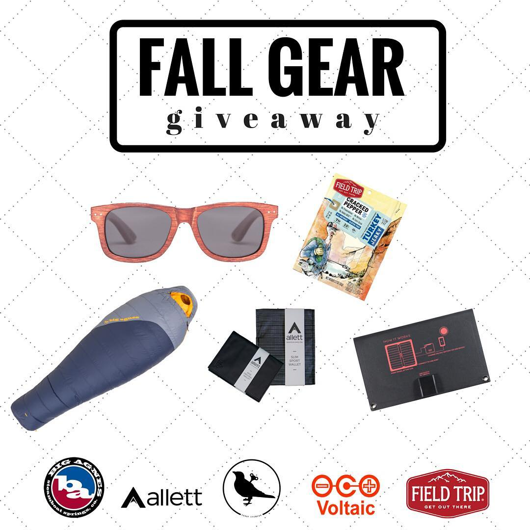 Want cool gear from awesome brands? We've partnered with @bigagnes_, @allettwallets, @fieldtripjerky and @voltaicsystems to get you geared up for fall. First, make sure you're following all brands on Instagram and then click the link in our bio to get...