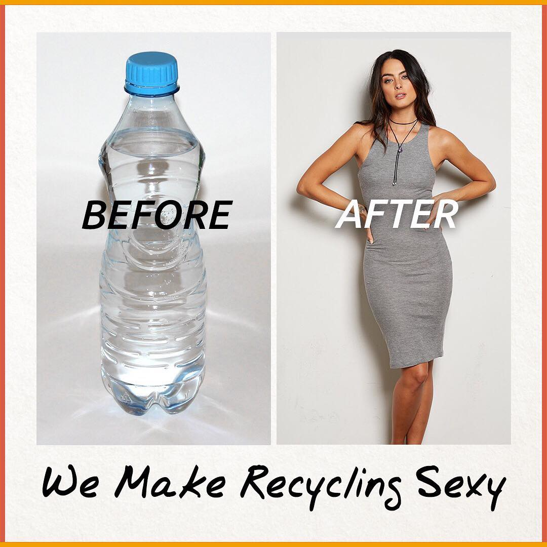 Recycling is good for the planet and sexy too!  All of our recycled polyester is made from recycled water bottles.  #giveashit #recycle #fashion  Enter to win a $500 shopping spree - link in bio!