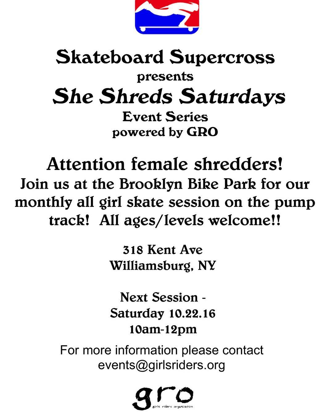 Save the date!! October 22nd is the next She Shreds Saturday! Can't wait to see you all there