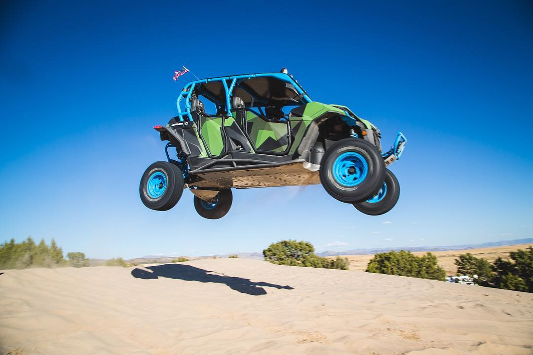 Usually found trashing on the drums, our buddy @brandensteineckert tried out a different type of pedals - @kblock43's 4 seater Maverick! #huckit