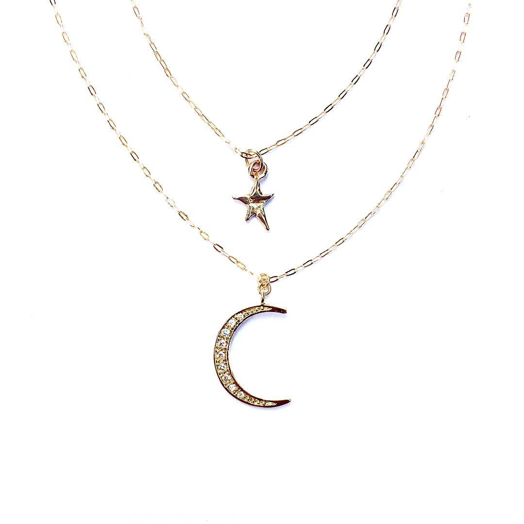 "You'll be able to layer your favorite necklaces and whichever order you like with our custom length options now in the shop! 16, 18 & 24+"" are now options when ordering your necklaces! www.JuliaSzendrei.com  #LayeredGold #GiftGuide #Holiday #Gold #Moon..."