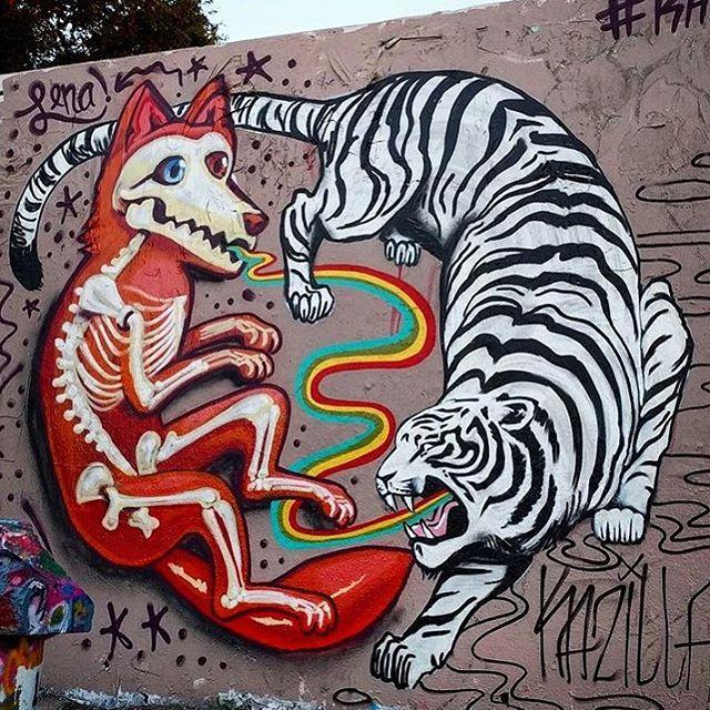 @lenatx & @kazillathevanillagorilla • • #atx #austintx #texas #tx #spratx #art #mural #streetart #fox #tiger