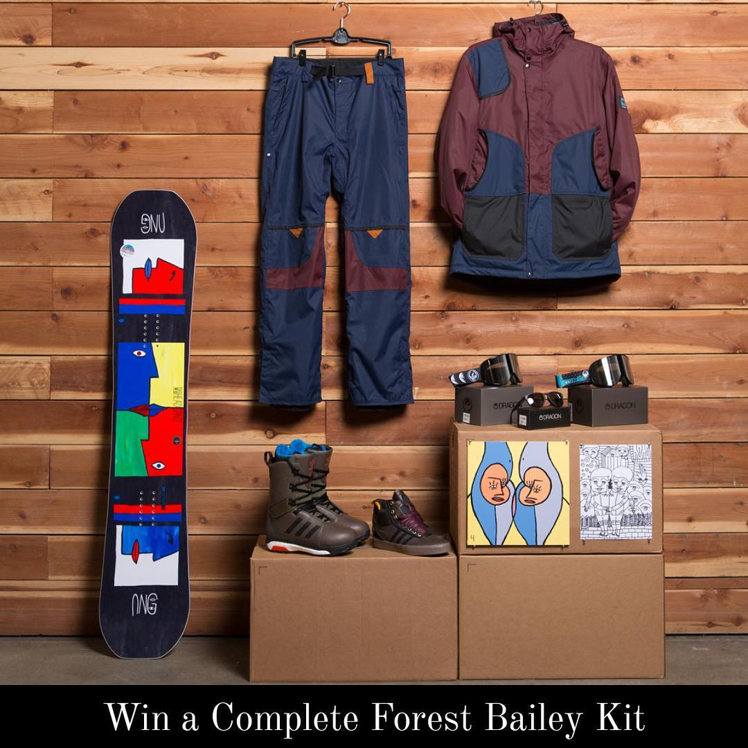We teamed up with  @forestbailey and his sponsors to offer his complete kit for one lucky winner. Head to @686 profile for all the details on the giveaway. Good luck!! #dragonnfx2 #adidassnowboarding #gnu #686