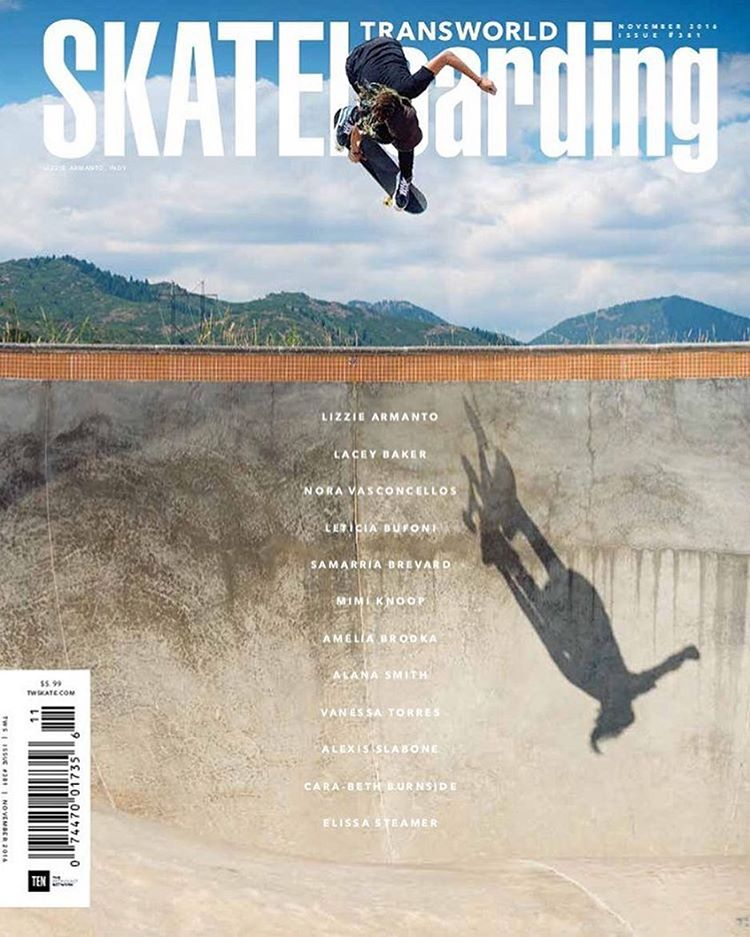 Stoked! @lizziearmanto becomes the first woman ever to land the cover of @transworldskate in 33 years of print. Plus, issue full of female coverage