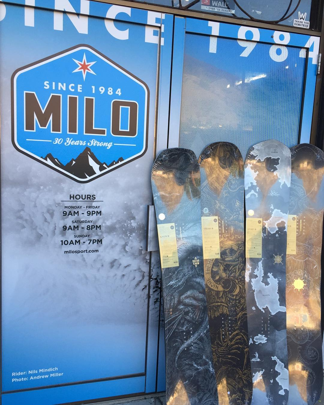 #NicheSnowboards have arrived @milosport #Since1984 selling the best products locally! Go in and check out the new boards! The hours are on the door...