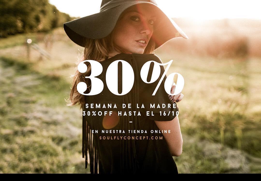 30 % OFF‼️ Semana de la Madre en nuestra Tienda Online! Hasta el 16 de Octubre. ⚡️www.soulflyconcept.com/eshop  _________________ #SemanaDeLaMadre #SoulflyConcept #Promo #Descuentos #Mamá #Mom #DíaDeLaMadre #Eshop #Lifestyle