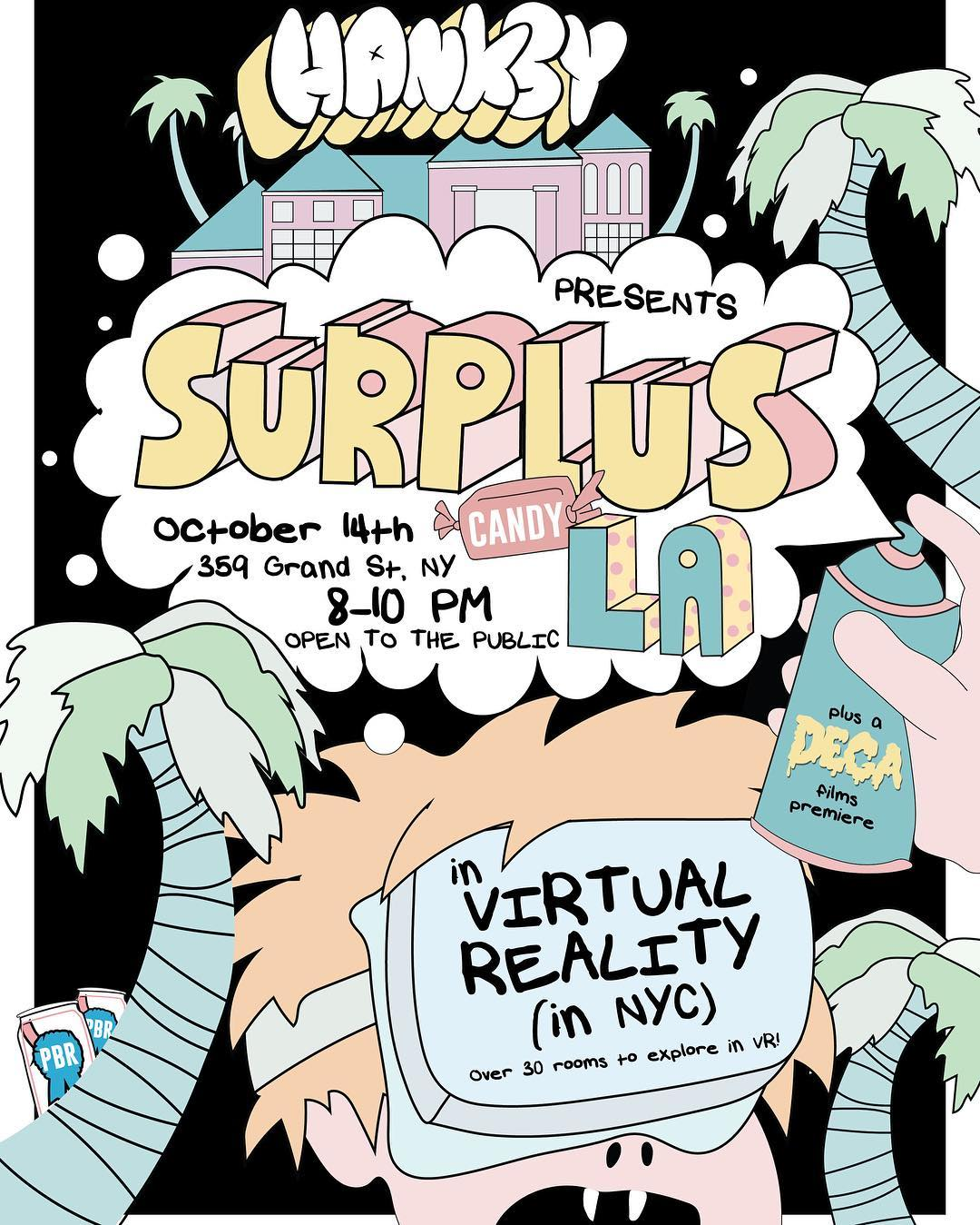 "Our good friend, @hanksynyc is hosting a show this weekend in NYC. A ""choose your own adventure"" virtual reality tour through last years #surpluscandy show in Los Angeles. 30 rooms featuring 60+ artists from around the world. Don't miss out! • • If..."