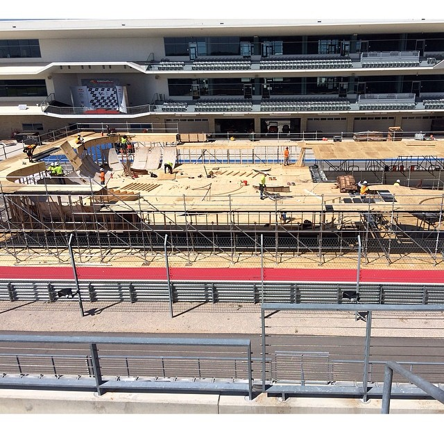 Day two of load in for #xgamesaustin ! Can you tell what course we are building? @cota_official