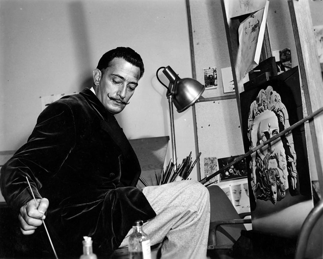 Renowned surrealist Salvador Dali grew a flamboyant moustache in the mid to late 1920s, influenced by 17th-century Spanish master painter Diego Velázquez. The moustache became his trademark, reaching a fame nearly equal that of his art.