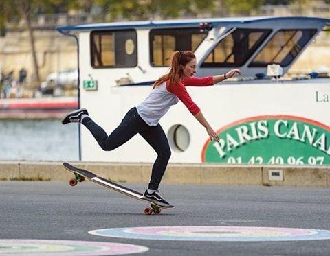 Bonne journée from Paris! @cassandrelmn mastering the art of balance in Trocadero.  Have a great day fam! @clementd_photographe  #longboardgirlscrew #womensupportingwomen #bethechange #skatelikeagirl #paris #cassandrelemoine