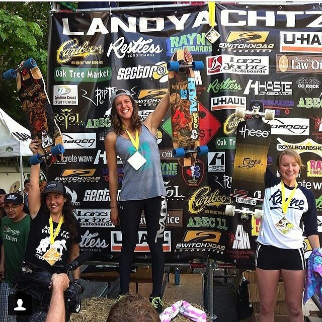 Regram from @annaoneill (thanks babe!) #DangerBay Women's Podium: 1. @e_coree 2. @vwaddington_skates 3. @kateslynne Congrats ladies!! #longboardgirlscrew #girlswhoshred #fasterthanyou Killing it!!