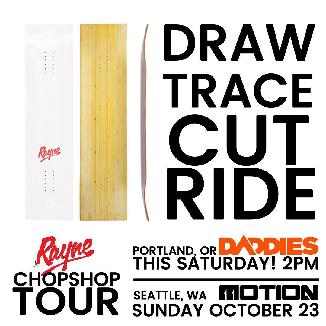 ENTER FOR YOUR CHANCE TO WIN A FREE BOARD! . #Repost this photo, tag us @raynelongboards and #RayneChopShopTour for your chance to win one of two FREE Rayne Template Longboards. #MotionBoardshop #DaddiesBoardShop #RayneChopShop #Seattle #Portland...