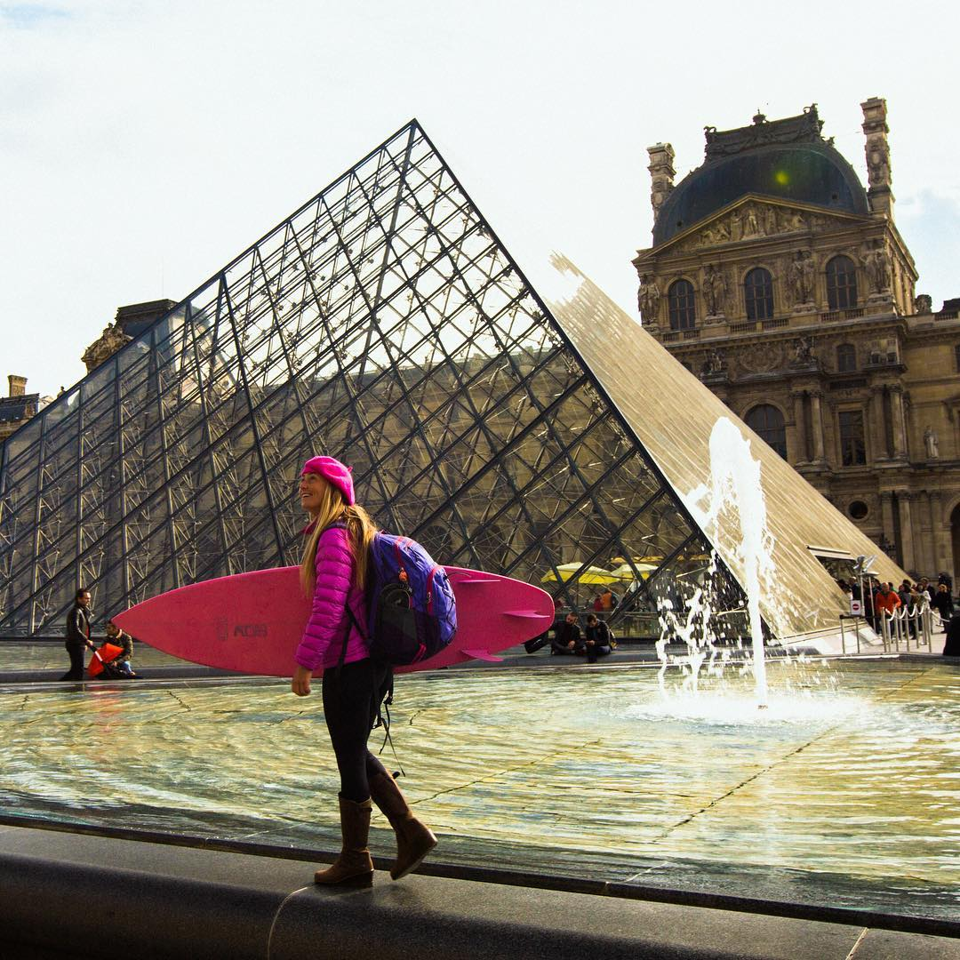 Back in Paris! The Louvre is the world's largest museum with the smallest fountain waves ;) It's the 2nd most visited museum in the world and the guard said he'd never seen a pink surfboard clad visitor. Not sure if I will cause another French...