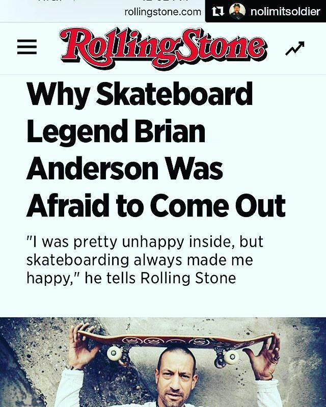 Recientemente el legendario skateboarder profesional Brian Anderson, declaró ser gay. Qué opinás ...?! #skateboarder #gay #briananderson #rollingstone
