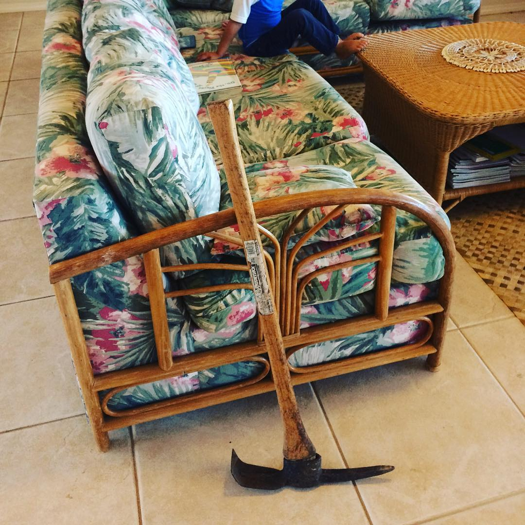 7am Hawaiian centipede hunting. First step: Scream bloody loud. That's what I did anyways. Second step: Lock little children in back room. Third step: Grab your best friend and squish it to death as fast as possible. #dontmesswithme...