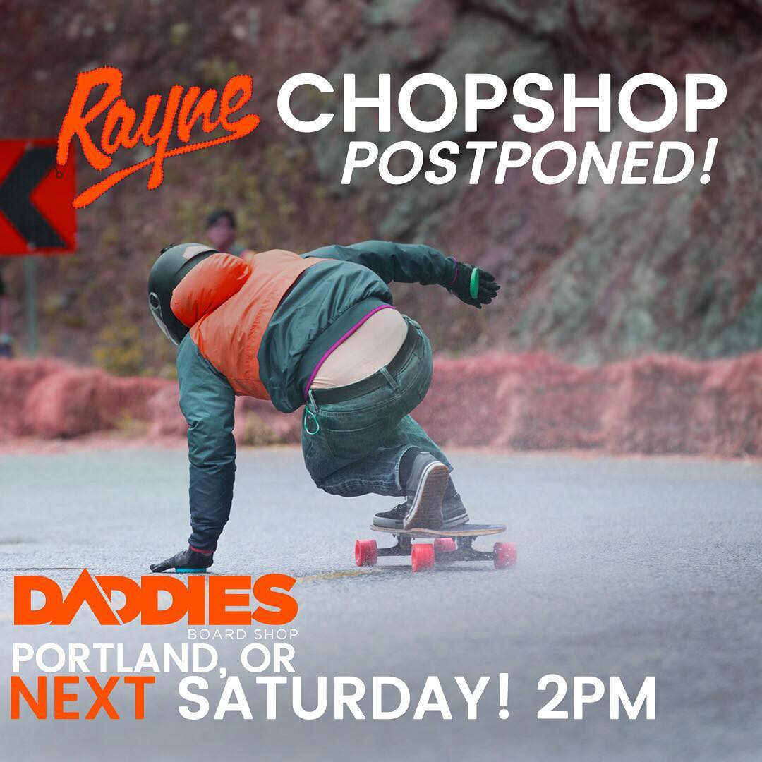 UPDATE!!! Due to a dangerous storm on the west coast this weekend we will be postponing the #RayneChopShopTour until SATURDAY, OCTOBER 22nd