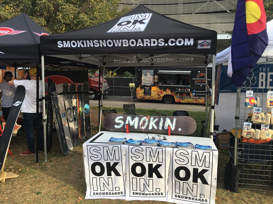 We are in #colorado showing the new stuff. @blockfestival , #CheifKeef is gonna show us what's up tonite, come by and say hello. #forridersbyriders | #handmadeusa | #3yearwarranty | #smokinsnowboards