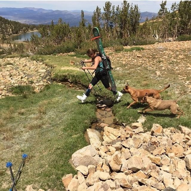 No snow, no problem. @hutchski knows a good walk in the woods can sometimes lead to turns in the warmer months. And if not, some cross training while she waits