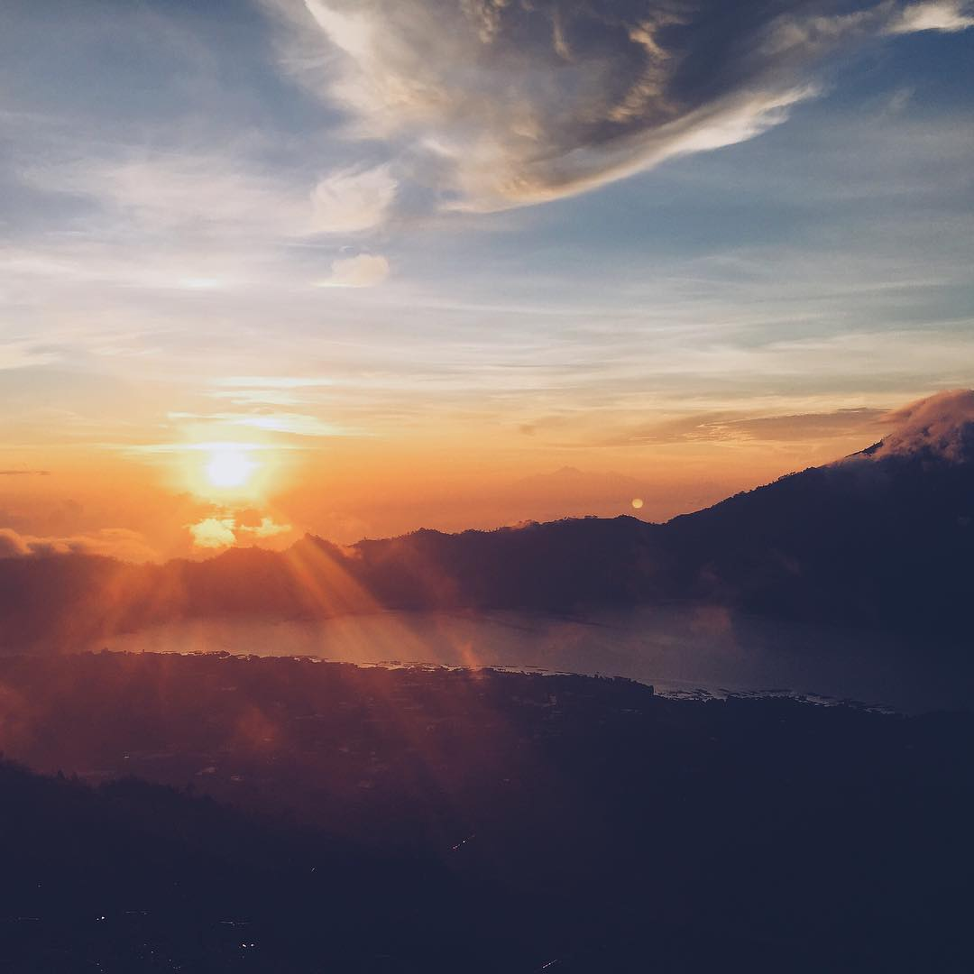 Goodmorning Bali. Goodnight US.Happy dreams all whether they would be day dreams or night dreams. This dreamy little image is a sunrise from Mt Batur