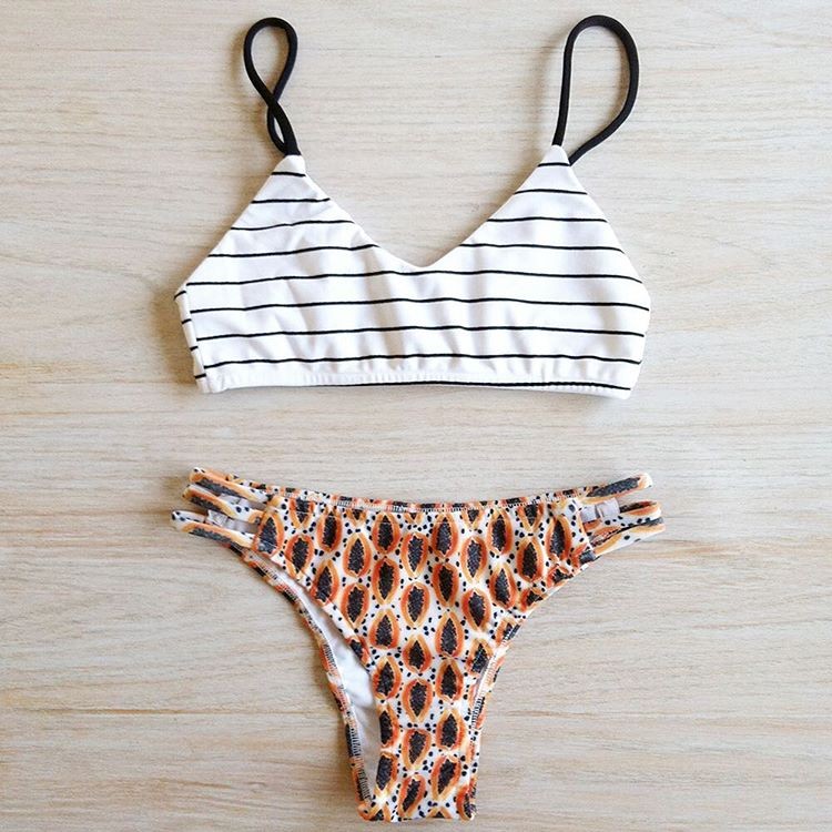• Bikini Swamis • Rayas & Papayas #katwai #swimwear #bikini #stripes #papayas #hello #summer #style #SS17