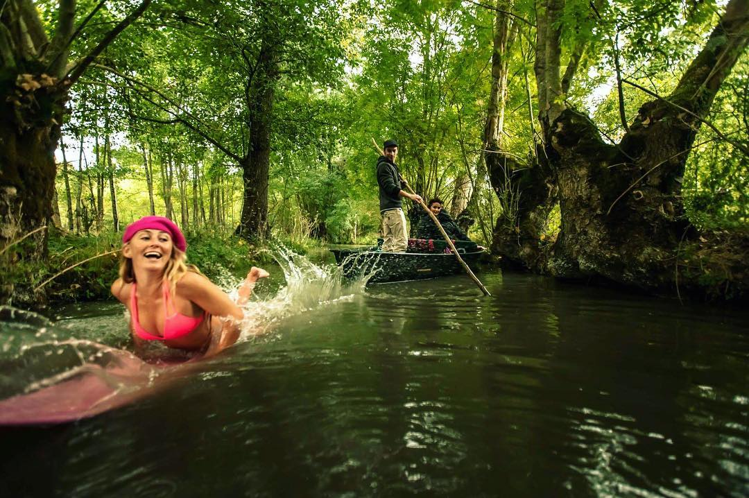 """It was """"firing"""" in the largest marsh on the Atlantic coast, Marais Poitevin. Turns out that when you make motion in the water, natural gas is released from the earth and when you hold a lighter to it, the surface of the stream ignites!"""