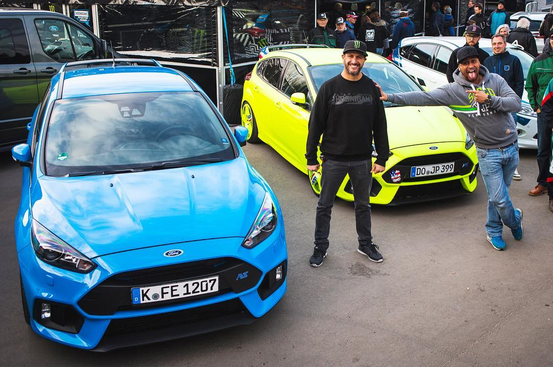 Check out this setup out here in front of our service area yesterday at #EsteringRX: a stock Ford Focus RS, and a custom Focus RS (inspired by my racecars) built by Mr. @JP.Performance, pictured standing next to me. Cool to see some elements from my...