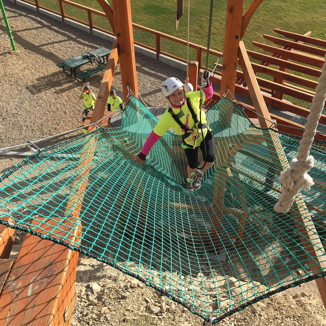"Taking ""jumps"" at #WildSkills. We aren't afraid. #ropescourse #iamsj #shejumps"