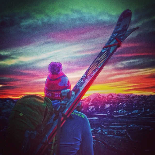 Lifts are closed but there's plenty of skiing to be had. #sunsethike #snowking #nightski #somanyfilters @snowkingskiarea