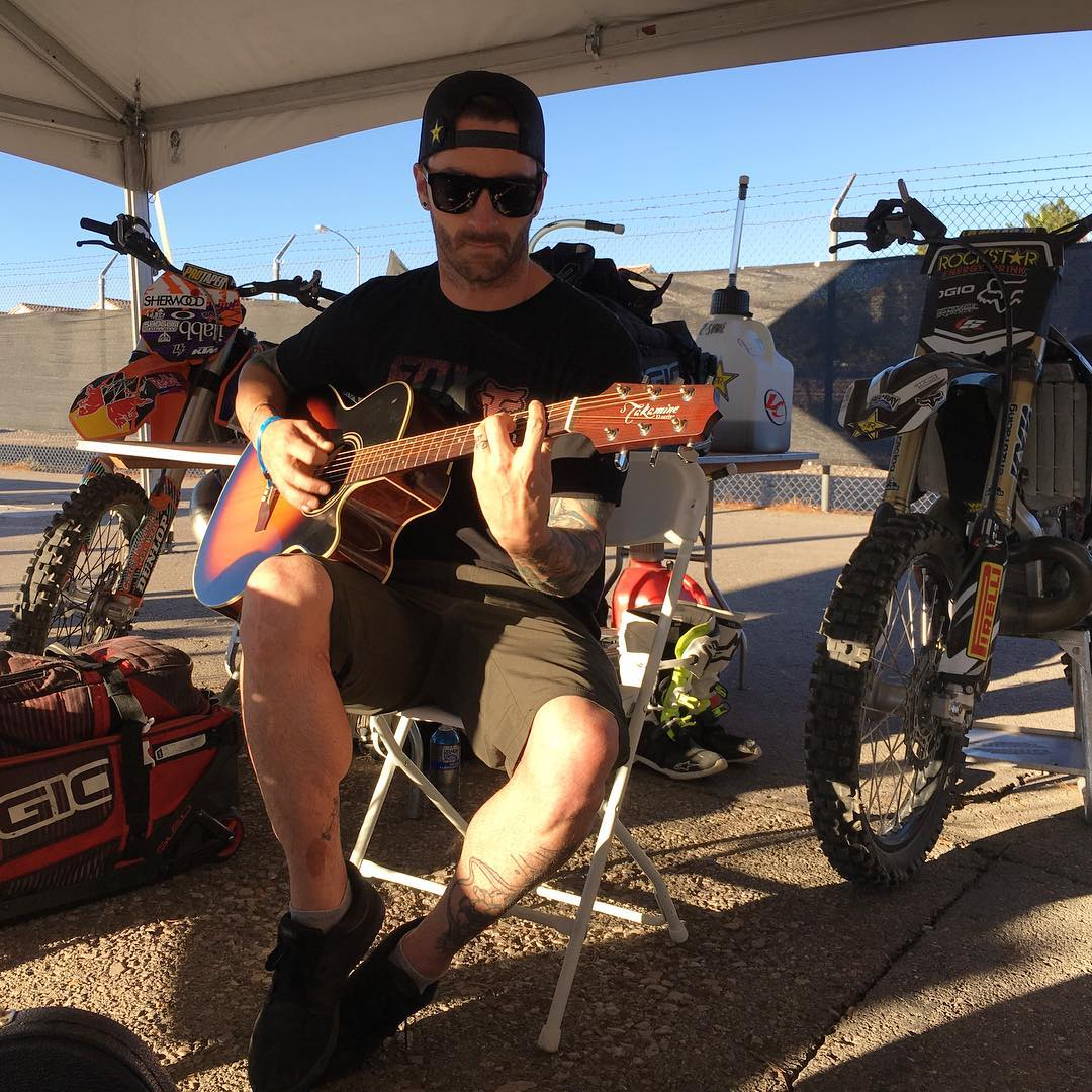 Gold medalist @AdamJones760 is strummin' a six-string in the pits at our Las Vegas #XGames Moto X qualifier!