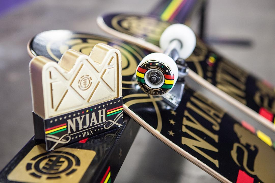 "Check out @nyjah's new ""Shine"" collection >>> His signature block of wax, a deck, and a complete! Get it at your local skateshop or online at Elementbrand.com"