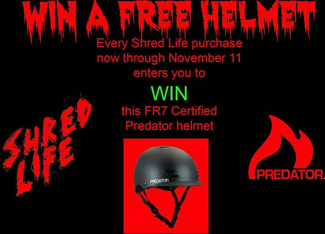@shred_life_stoke -  Enter to win a free #predatorhelmets by placing an order from www.shredlifestoke.com now thru 11/11. Winner announced on live feed on our Shred Life  Facebook page on 11/12at 2pm. It's a size large, black, FR7 Certified and it'll...