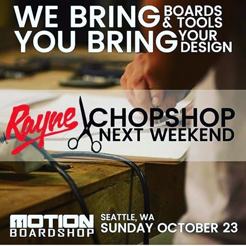 We're hosting a chop shop session in collaboration with @motionboardshop as part of the #RayneChopShopTour Everyone and anyone is welcome!!