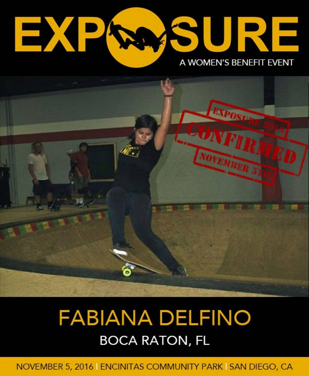 Yes!! @fabiana_delfino will be rockin the Pro Bowl and Street Competition at EXPOSURE!!