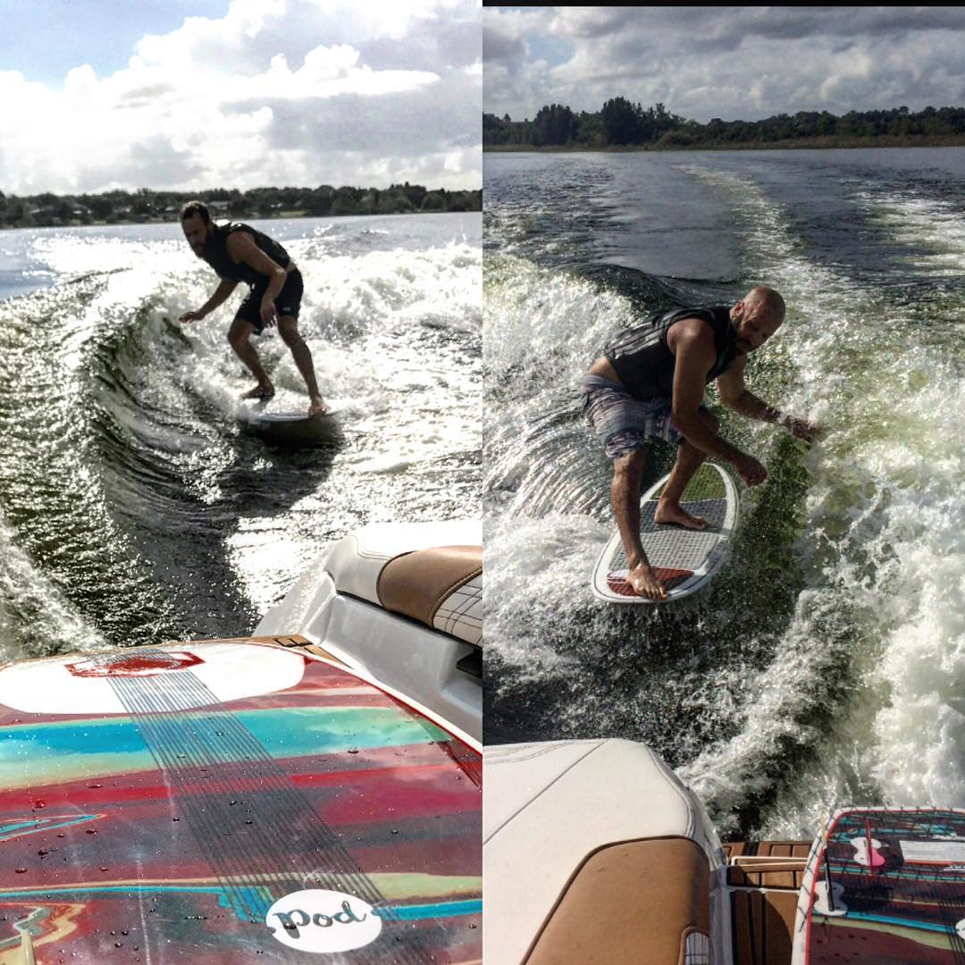 Fun day on the water Hangin' 5 with the @wakeboardingmag crew. Thanks @bennygrrr and @shawnperry !! And @shawnmwatson for the endless wave. #LiquidForce #FU #FunUnlimited #ElGuapo #RelentlessInnovation