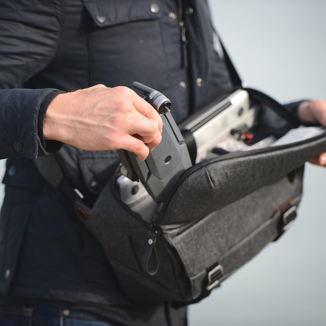 Oh yeah, by the way, the Mavic Pro fits in all of our bags really well. It is an absolutely perfect fit in the Everyday Sling. If you've been waiting for a drone, the wait is over. #findyourpeak