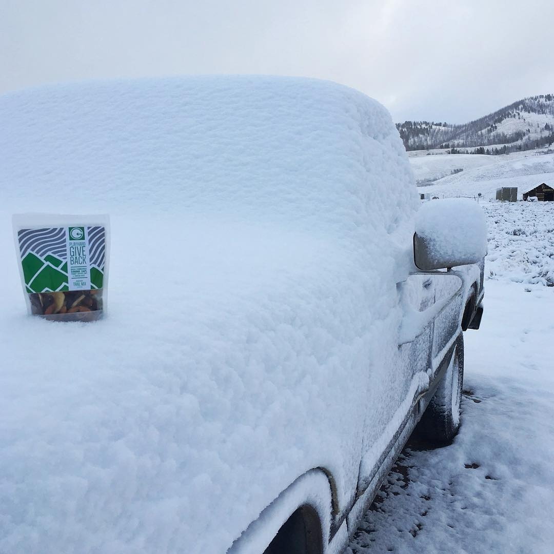 We got some snow here in the #sawtoothmountains!! #phgb office is stoked! #snackwithpurpose #playwithpurpose
