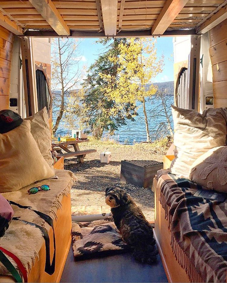 WHO'S A HAPPY PUP? A couple of our favorite nomads (and their pup) @homesweetvan making home wherever they park it. Is #VanLife the #DreamLife or what? #HomeSweetVan #Camping #RadParks