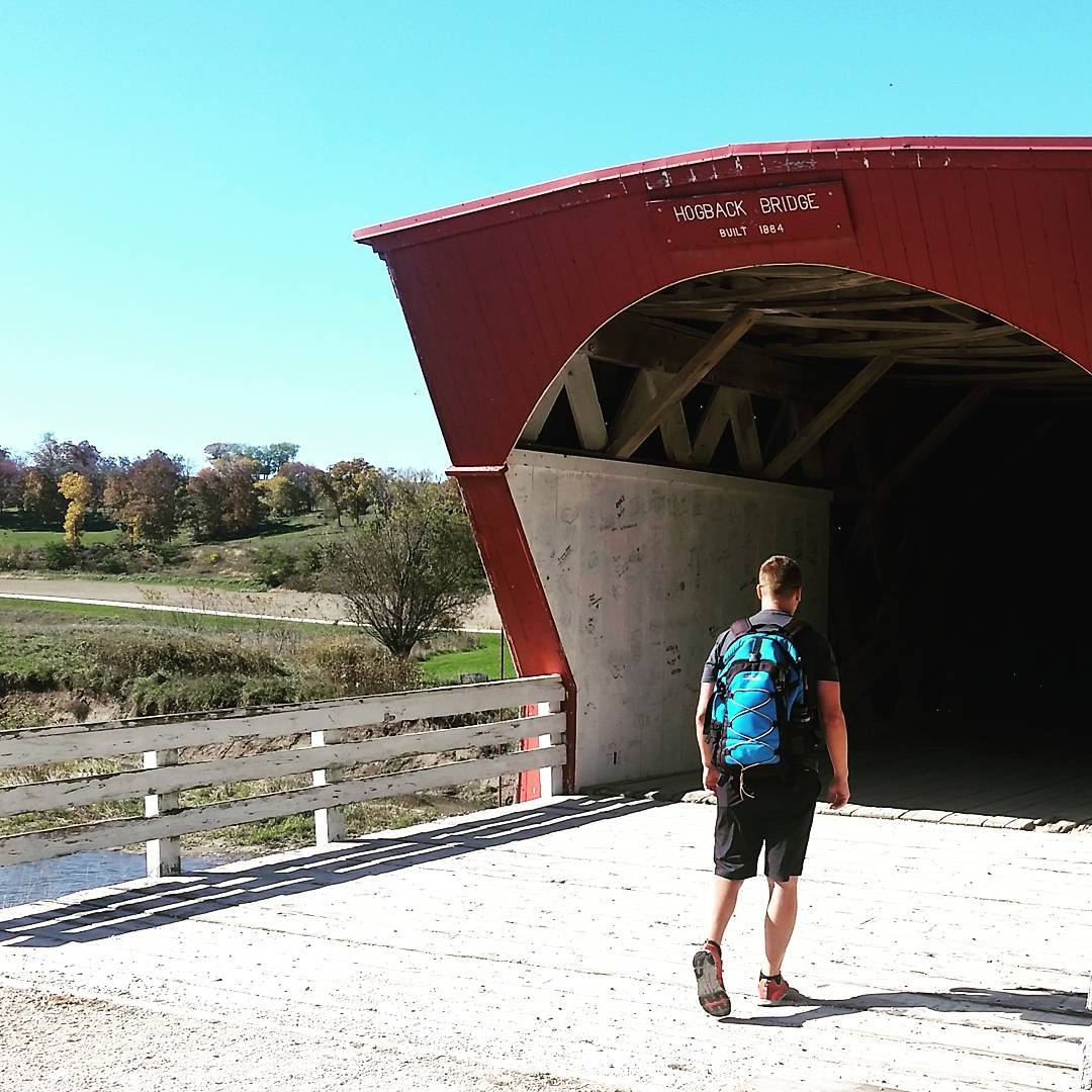 Walking through one of the bridges of Madison County with the Cascade backpack! #getoutside #backpacks #hogback #coveredbridges #adventures #madisoncounty #midwest #xplorewild #graniterocx #outdoorsrocx
