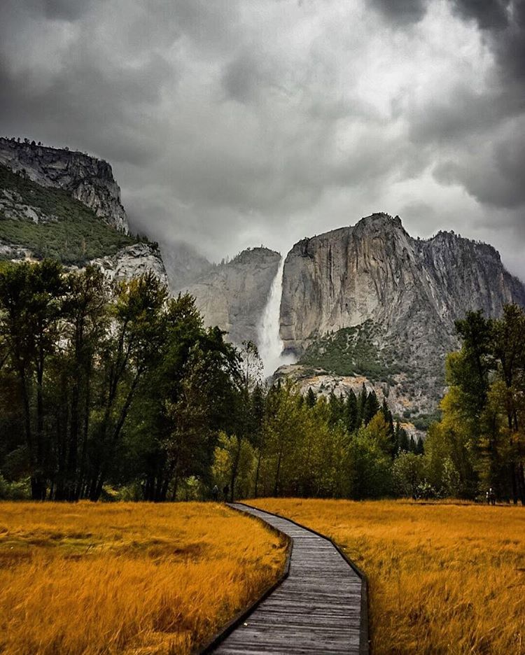 FALL'S BACK FOR FALL! It's not rare for Yosemite Falls in @YosemiteNPS to return in autumn, but it's back with a real force this year. Get out there and soak it in. No excuses!