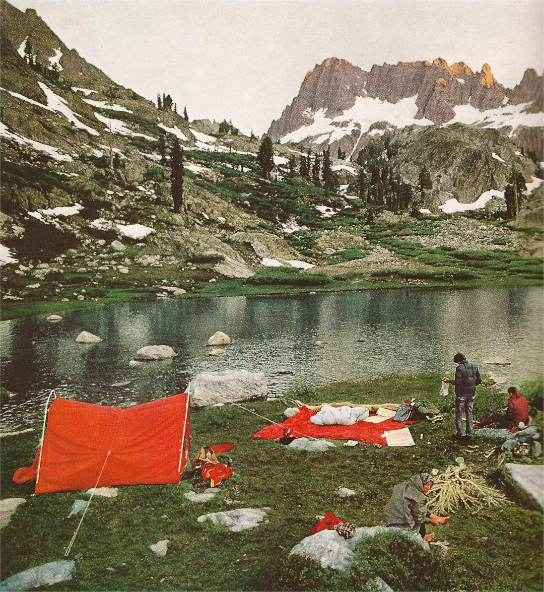 70'S CAMP Old school @natgeo vibes of some campers making home along the Pacific Crest Trail in the scenic Ritter Range. Click through the location to see some modern day views. Not much has changed thanks in part to groups like @pctassociation!...
